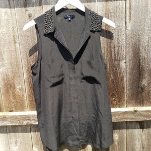 Madewell Black Blouse Shirt Gem Neckline M